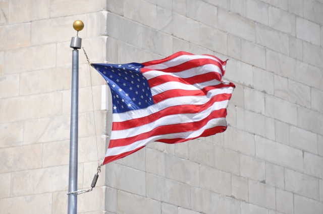 Flag in front of the Washington Monument